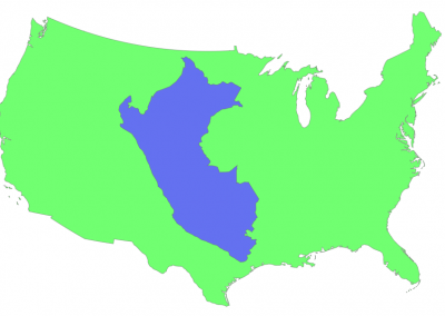 Size of Peru compared to USA