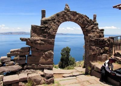 Stone archway on Isla Taquile, Lake Titicaca