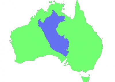 Size of Peru compared to Australia