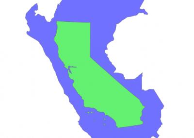 Size of Peru compared to California