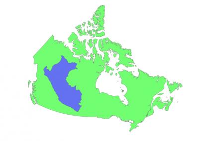 Size of Peru compared to Canada
