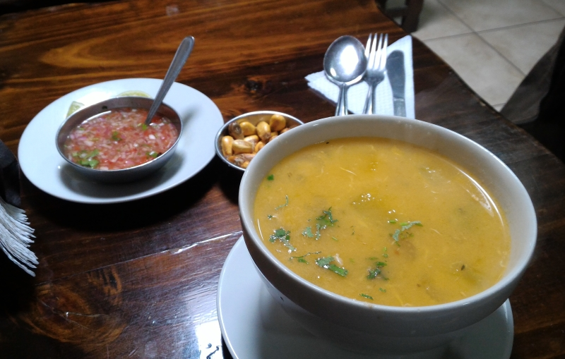 Peruvian menu soup starter