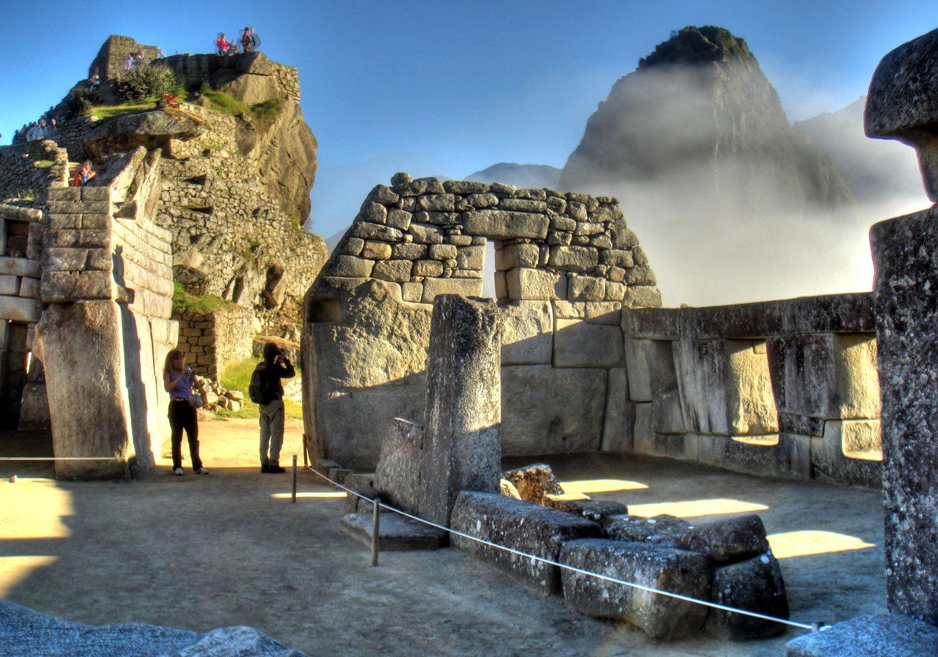 Inside Machu Picchu as the sun rises