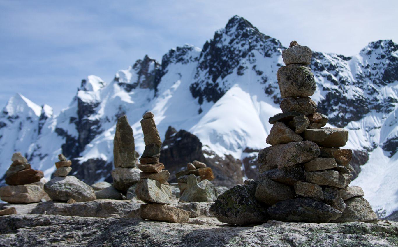 Salkantay trek stone piles, or apachetas